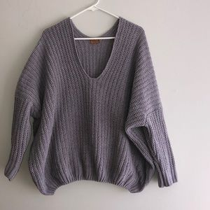 POL chenille v neck sweater